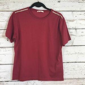 Phiten Dark Red Short Sleeve Top